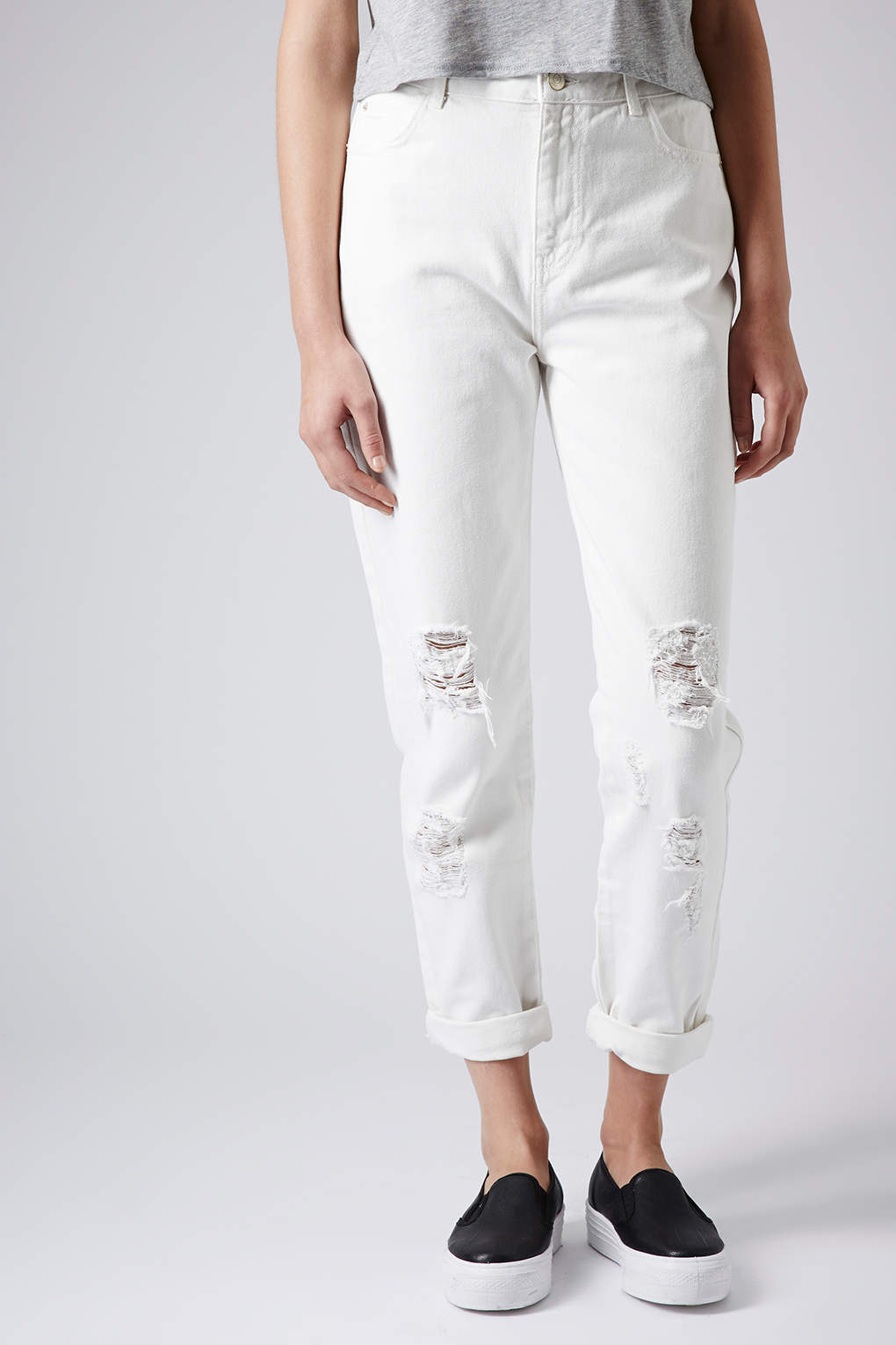 Topshop Moto White Ripped Mom Jeans Lyst