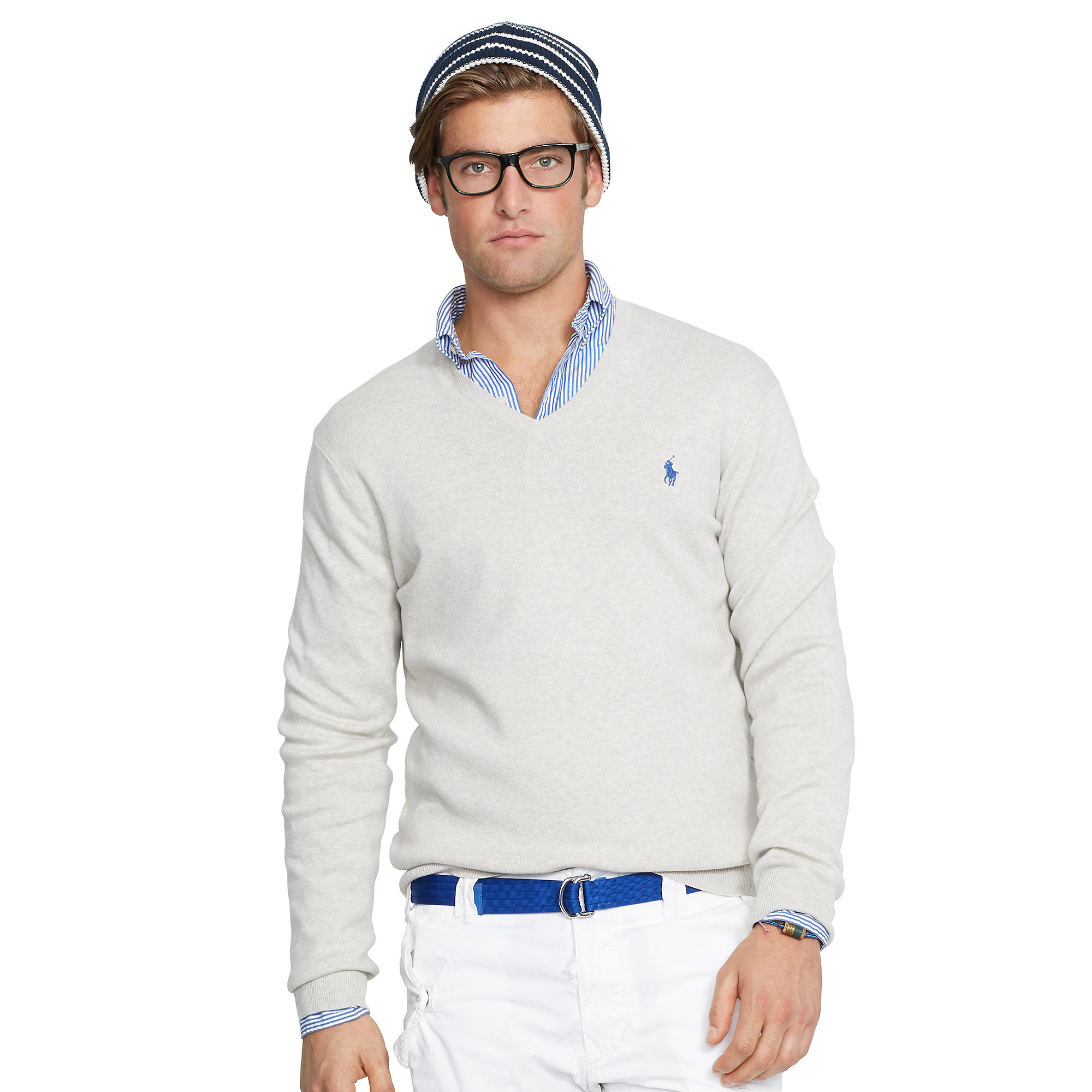 polo ralph lauren pima cotton v neck sweater in gray for men lyst. Black Bedroom Furniture Sets. Home Design Ideas