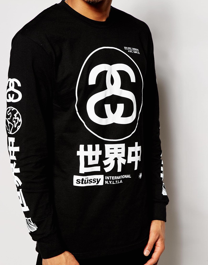 Stussy long sleeve t shirt with japan print in black for for Long sleeve printed t shirts