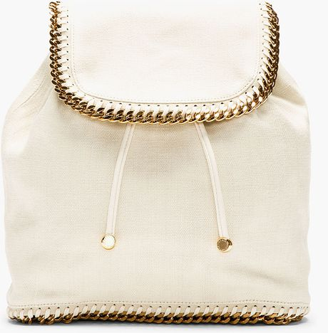 stella mccartney ecru textile chain trimmed rucksack in white lyst. Black Bedroom Furniture Sets. Home Design Ideas