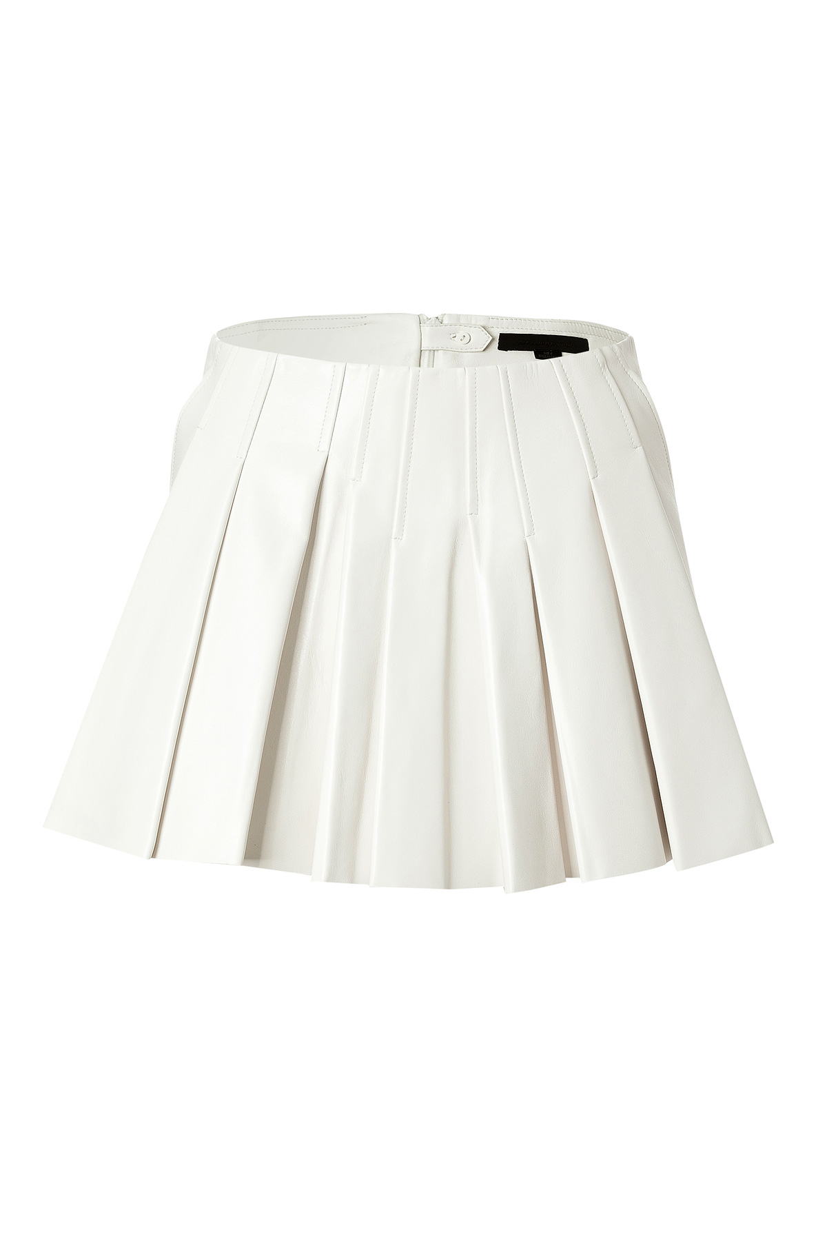 wang leather pleated skirt white in white lyst