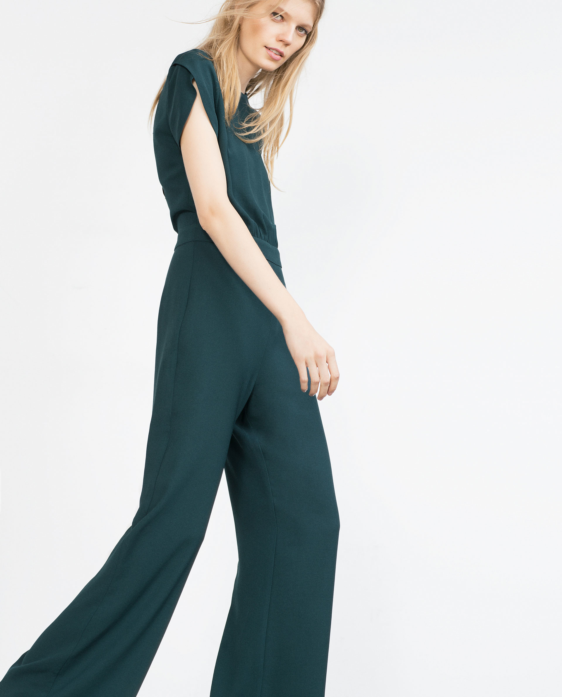 Luxury Zara Long Crossover Jumpsuit In Blue  Lyst