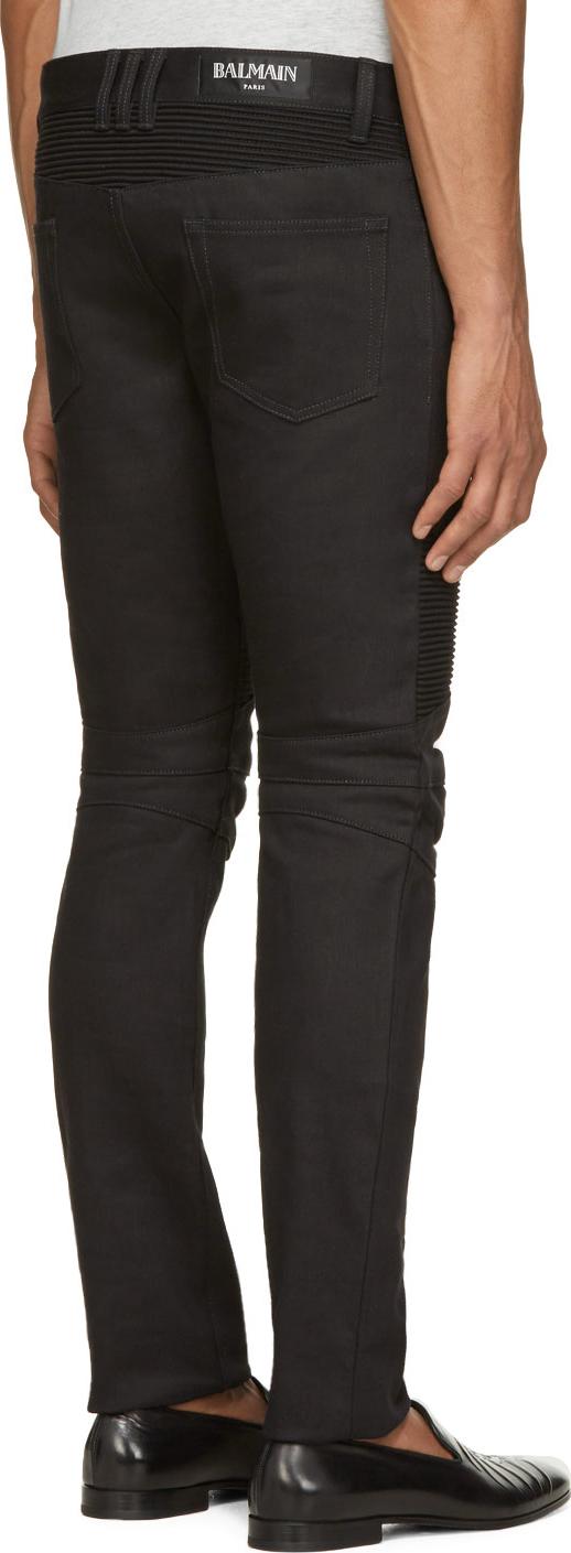 Balmain Black Raw Denim Biker Jeans for Men