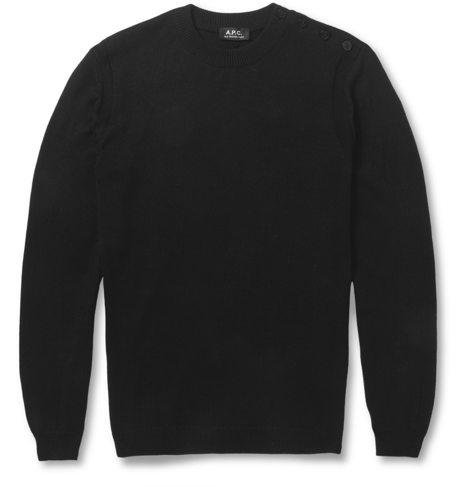 A.p.c. Shoulder-Buttoned Cotton Sweater in Black for Men | Lyst