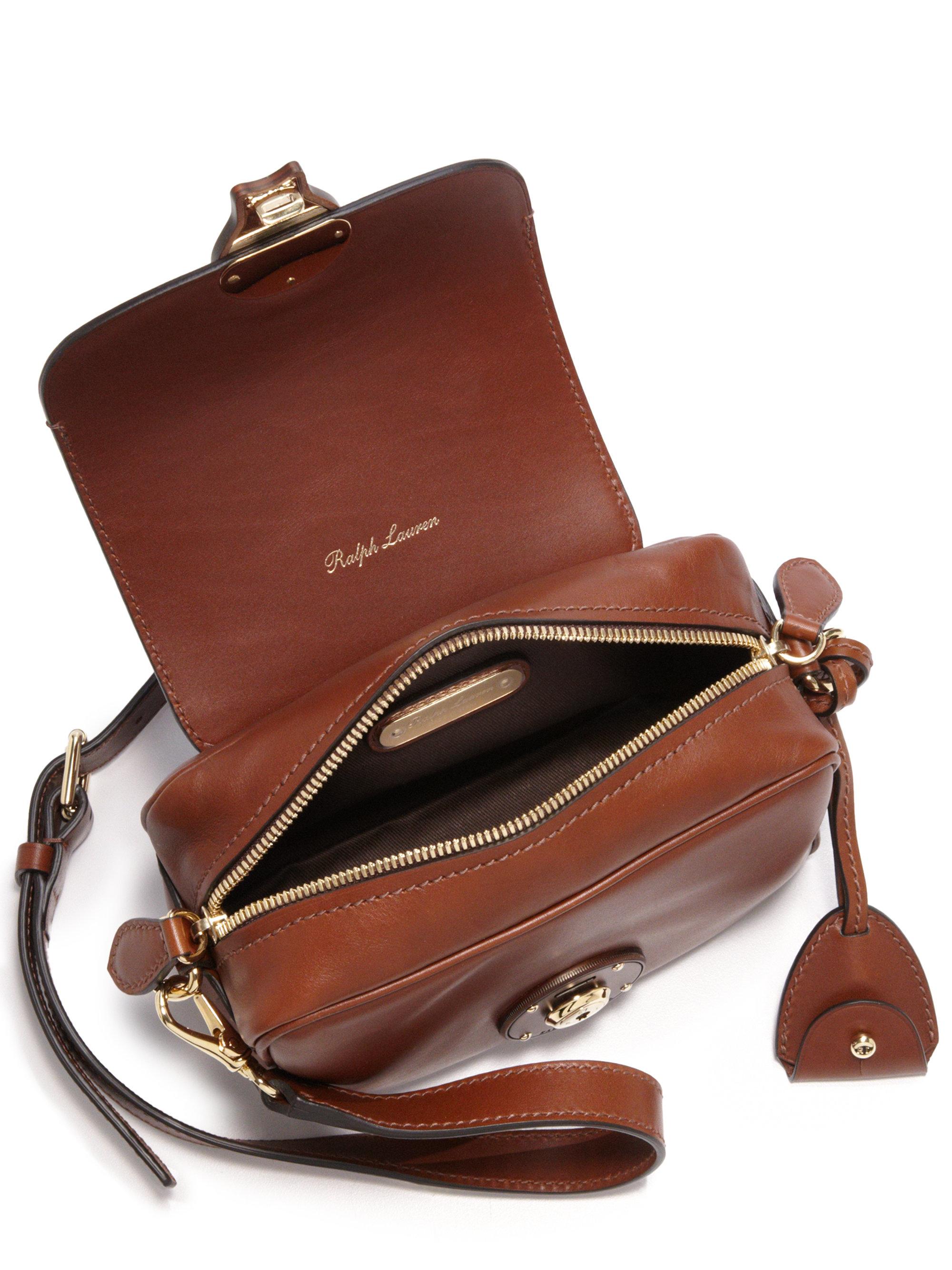 79ec179de3 Lyst - Ralph Lauren Ricky Extra-small Leather Zip Crossbody Bag in Brown