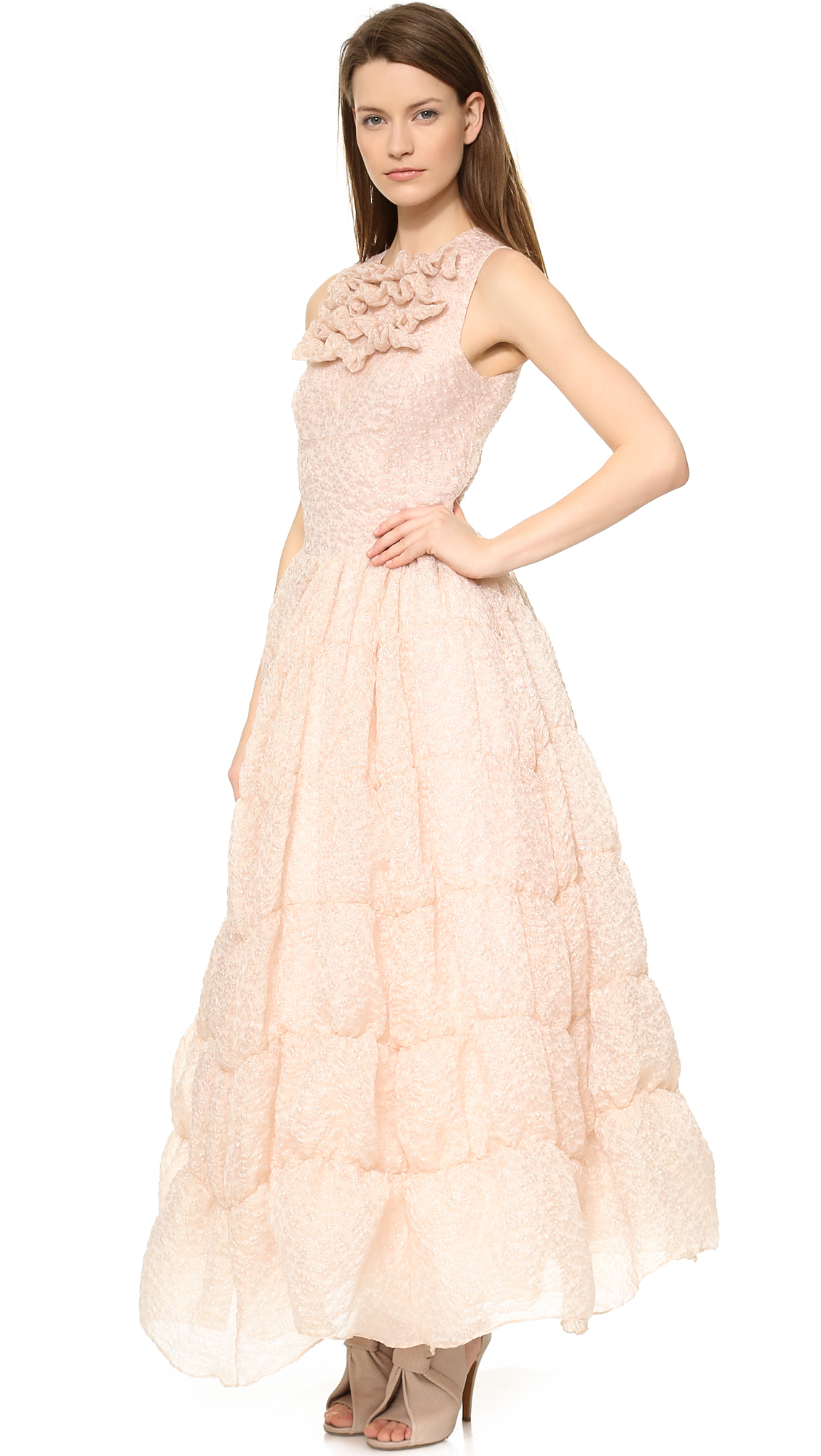 Pink Ruffle Sleeveless Dress