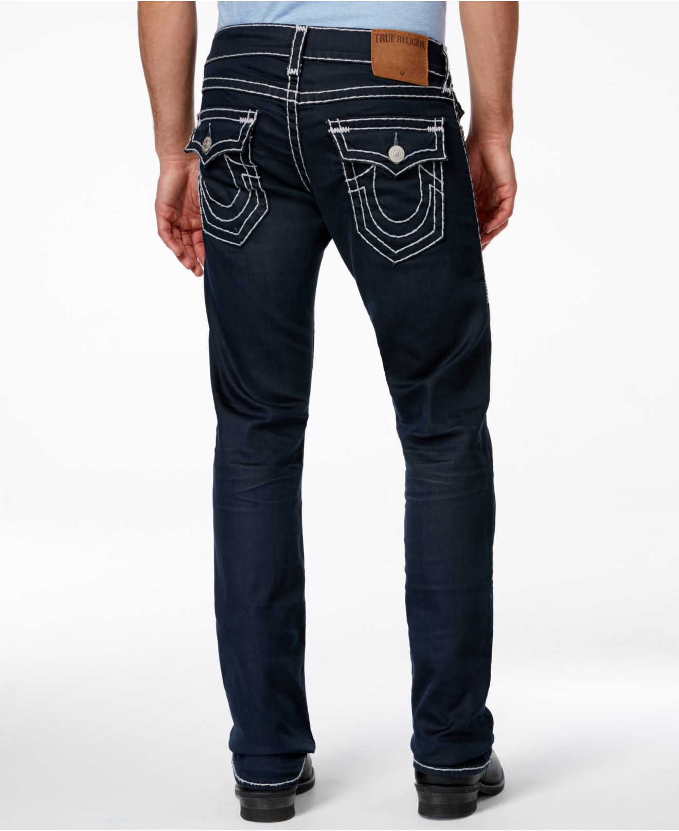 7535952e4 True Religion Men s Ricky Straight-fit Pitch Dark Wash Jeans in Blue ...