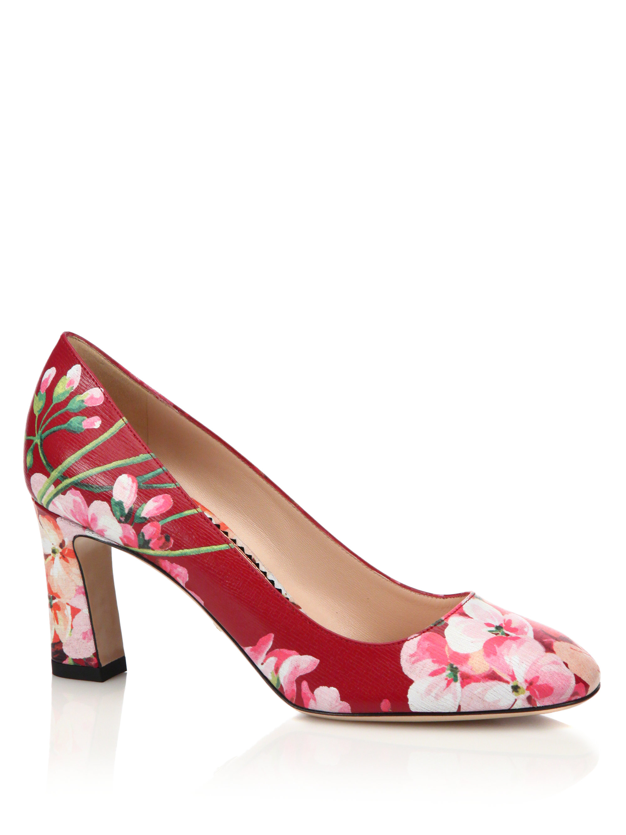 Lyst Gucci Marine Floral Leather Pumps In Pink