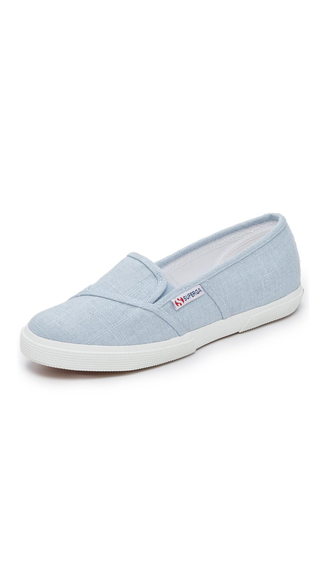 af0af2fb6b3 Lyst - Superga Linen Slip On Sneakers in Blue