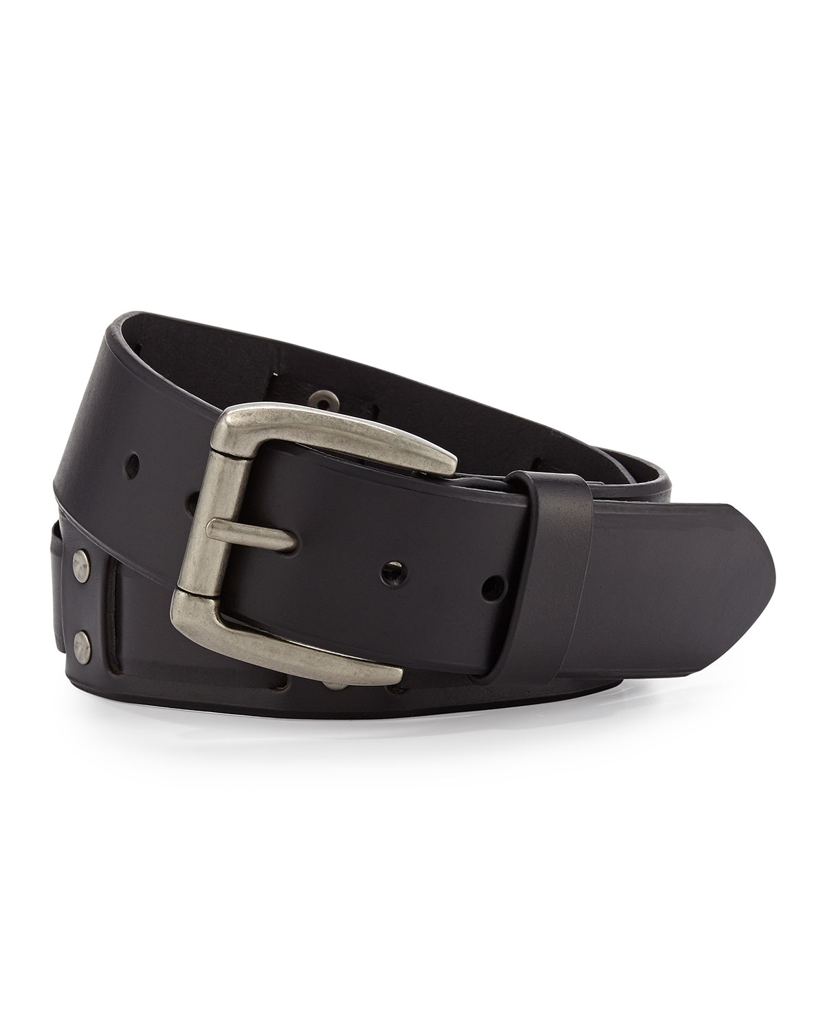 will leather goods s leather woven belt in black for