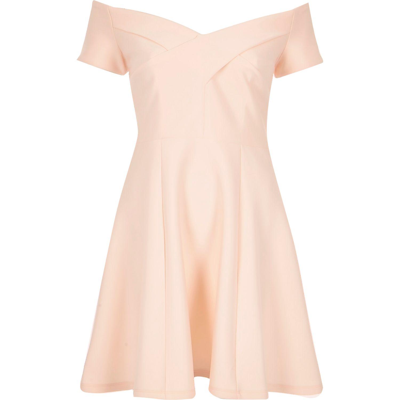 0b861eaf9142d River Island Light Pink Scuba Bardot Skater Dress in Pink - Lyst