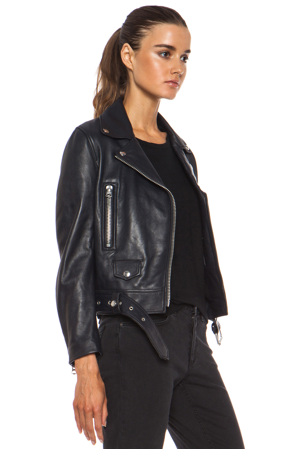Acne Studios Mock Leather Jacket In Gray Lyst