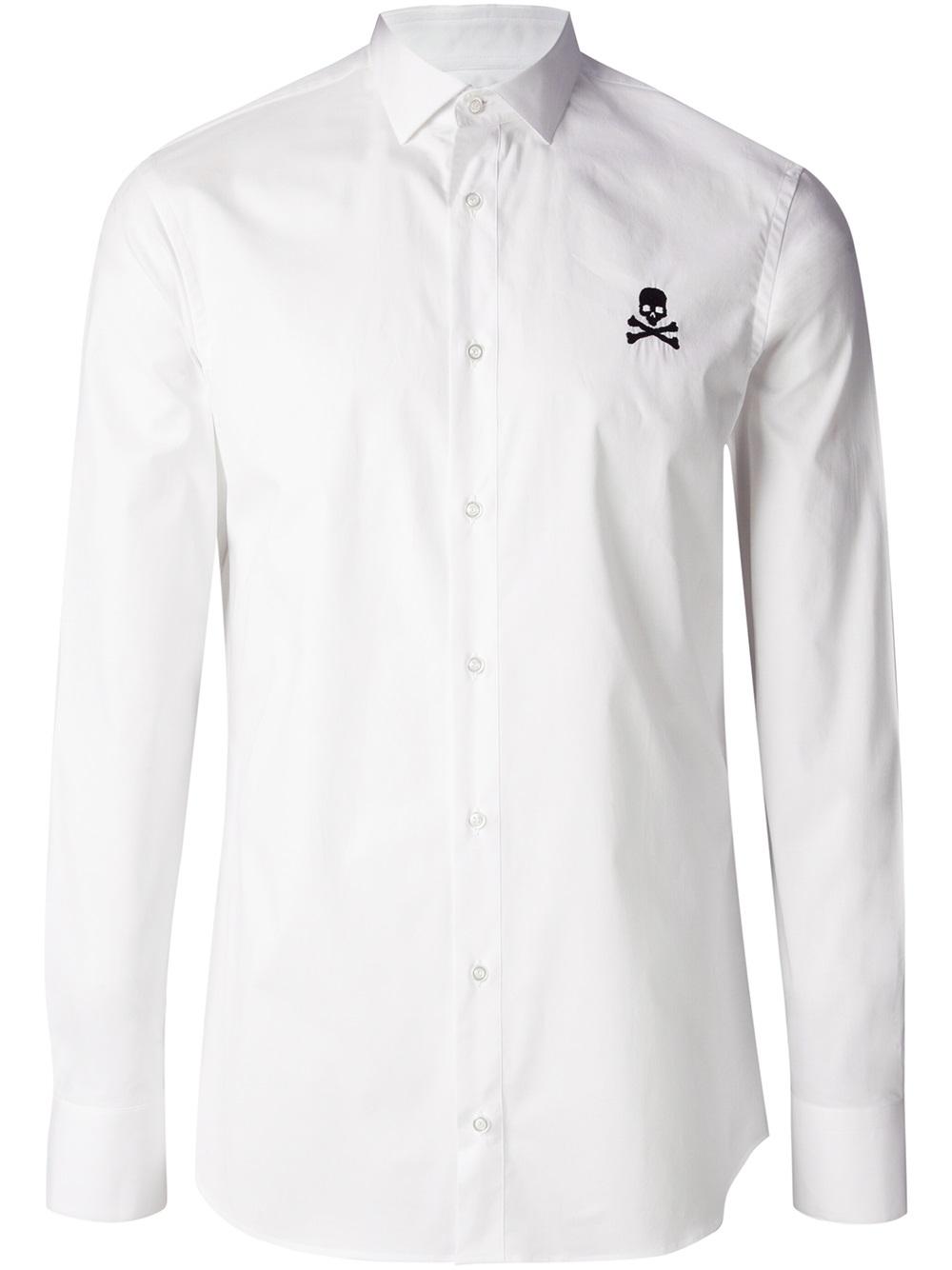 Philipp Plein Skull Logo Shirt In White For Men Lyst