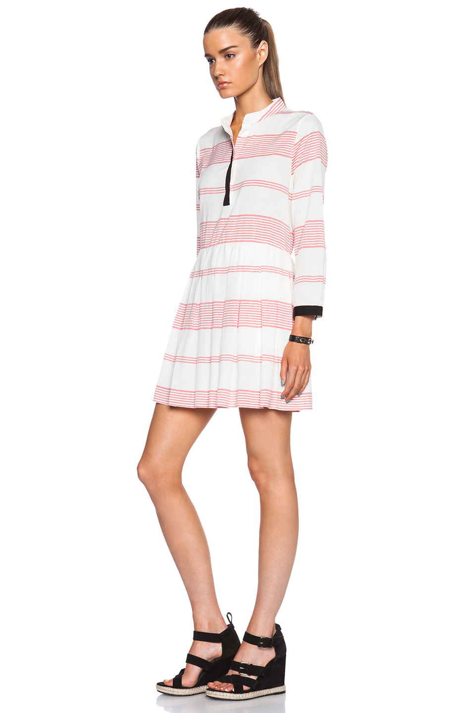 Lyst band of outsiders rio barre stripe shirt dress in red for Banded bottom shirts canada