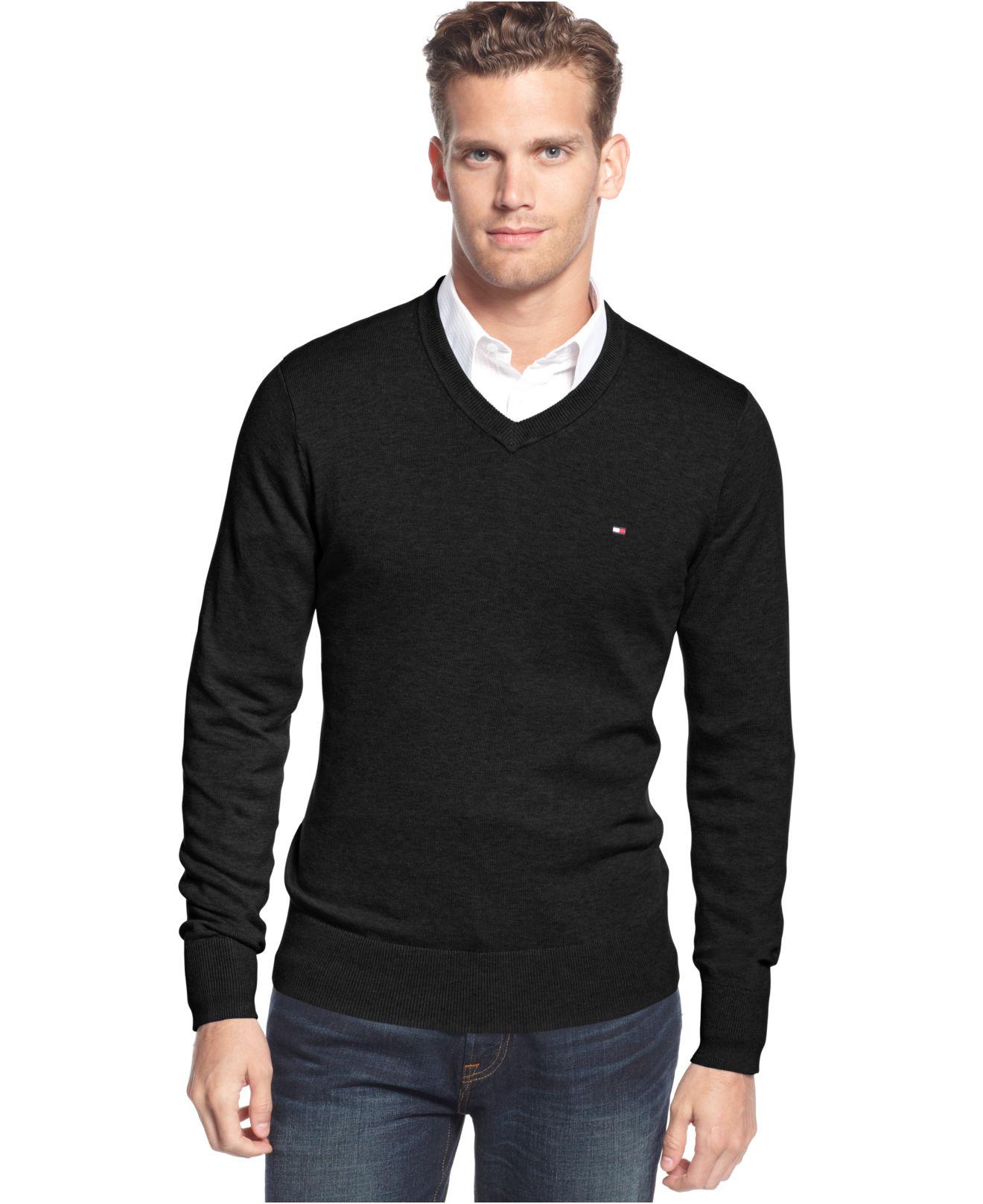 tommy hilfiger signature v neck sweater in black for men