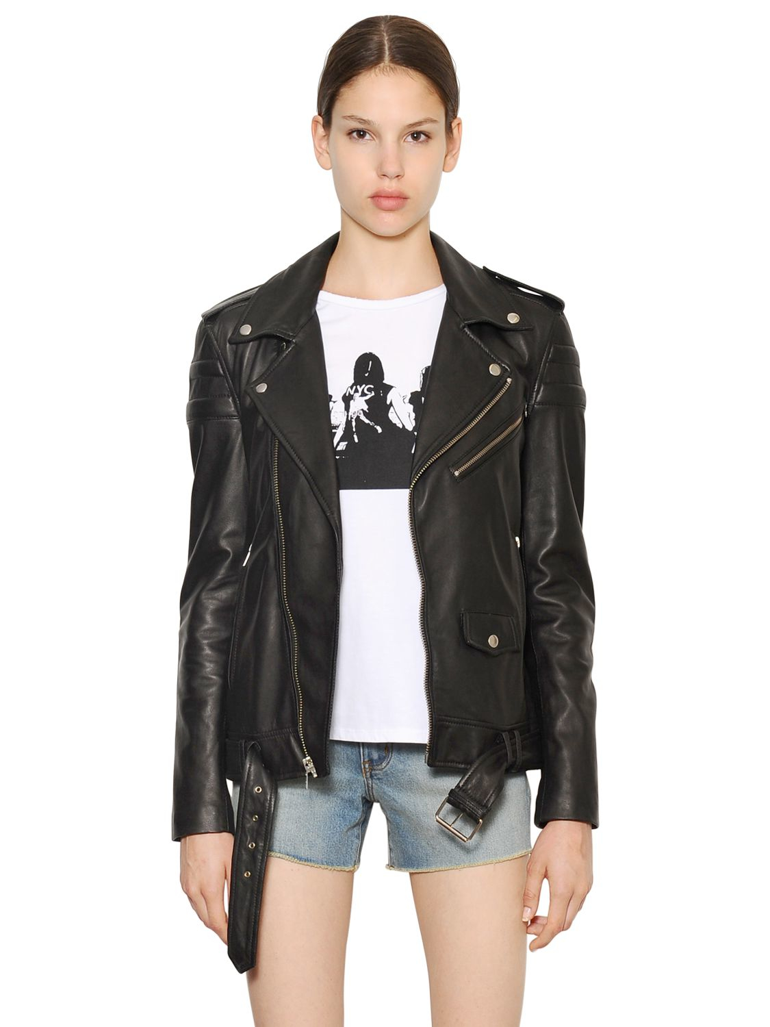 Lyst Blk Dnm Leather Jacket 8 Lightweight Leather In Black