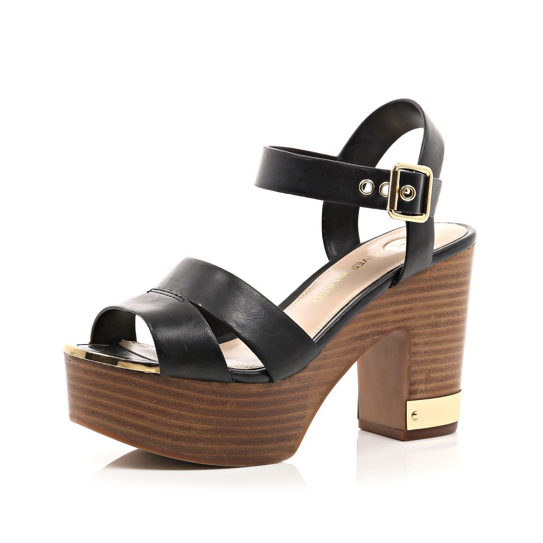 245187b93d85 River Island Black Wood Effect Heel Platform Sandals in Black - Lyst