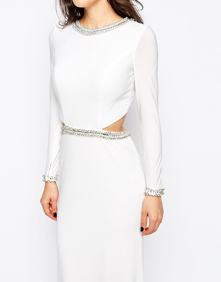 9a64c2ba5eb Forever Unique Tiara Long Sleeve Maxi Dress With Cut Outs And Embellishment  in White - Lyst