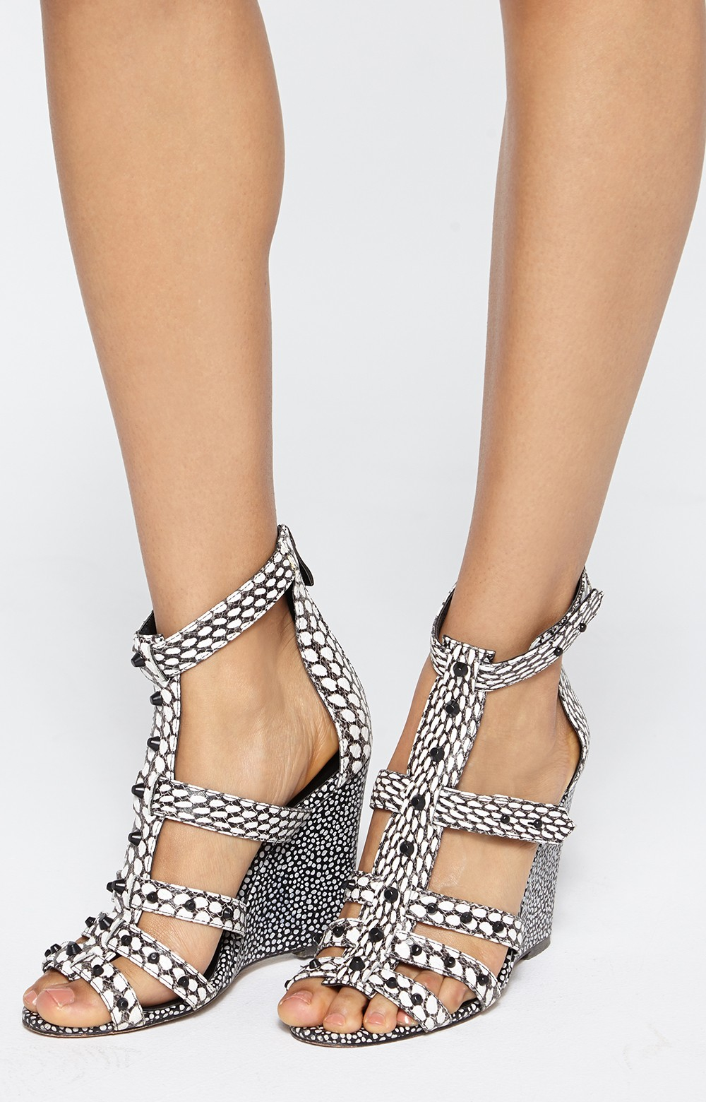 Nicole Miller Copacabana Snake Wedges In Black Lyst