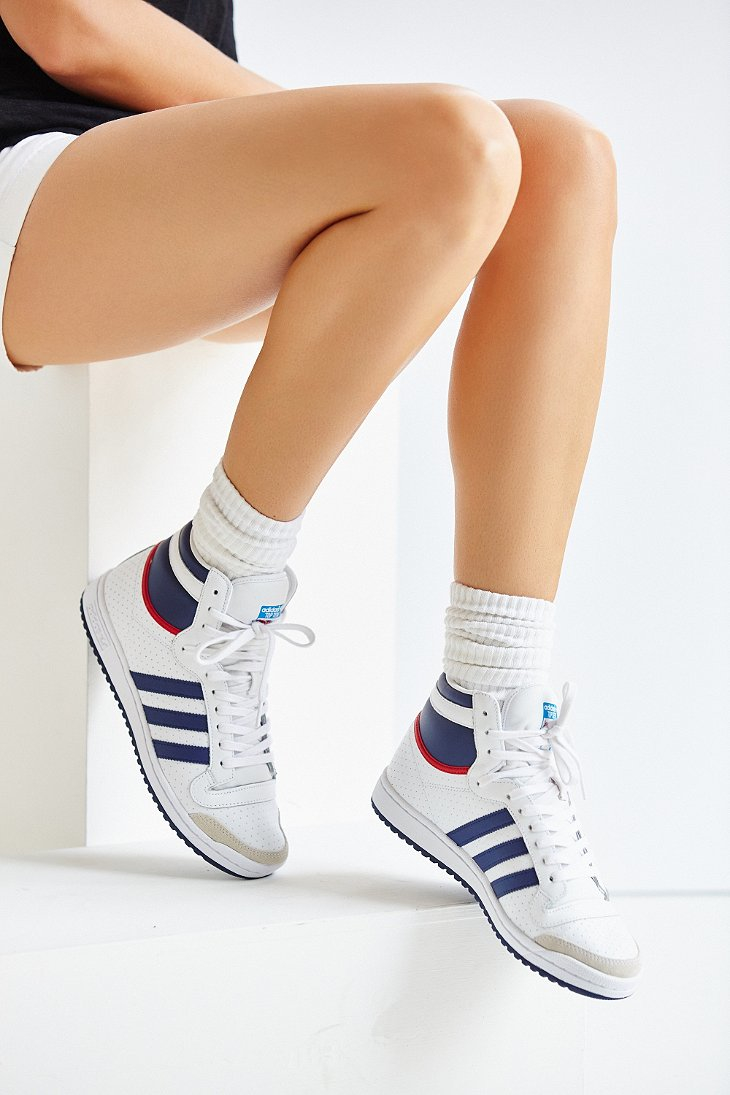 adidas Originals Leather Originals Top Ten Hi High Top Sneaker in ...