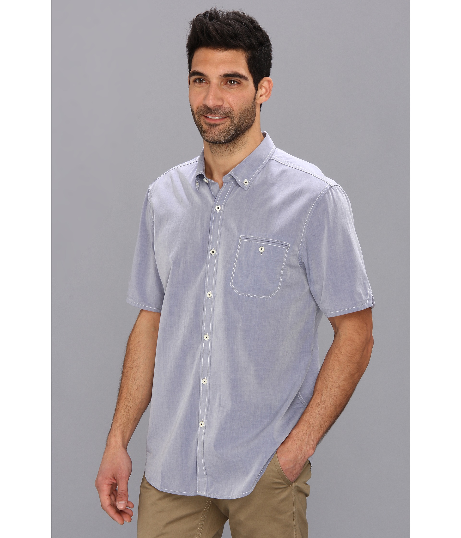 Tommy bahama island modern fit great chambray ss shirt in for Tommy bahama christmas shirt 2014