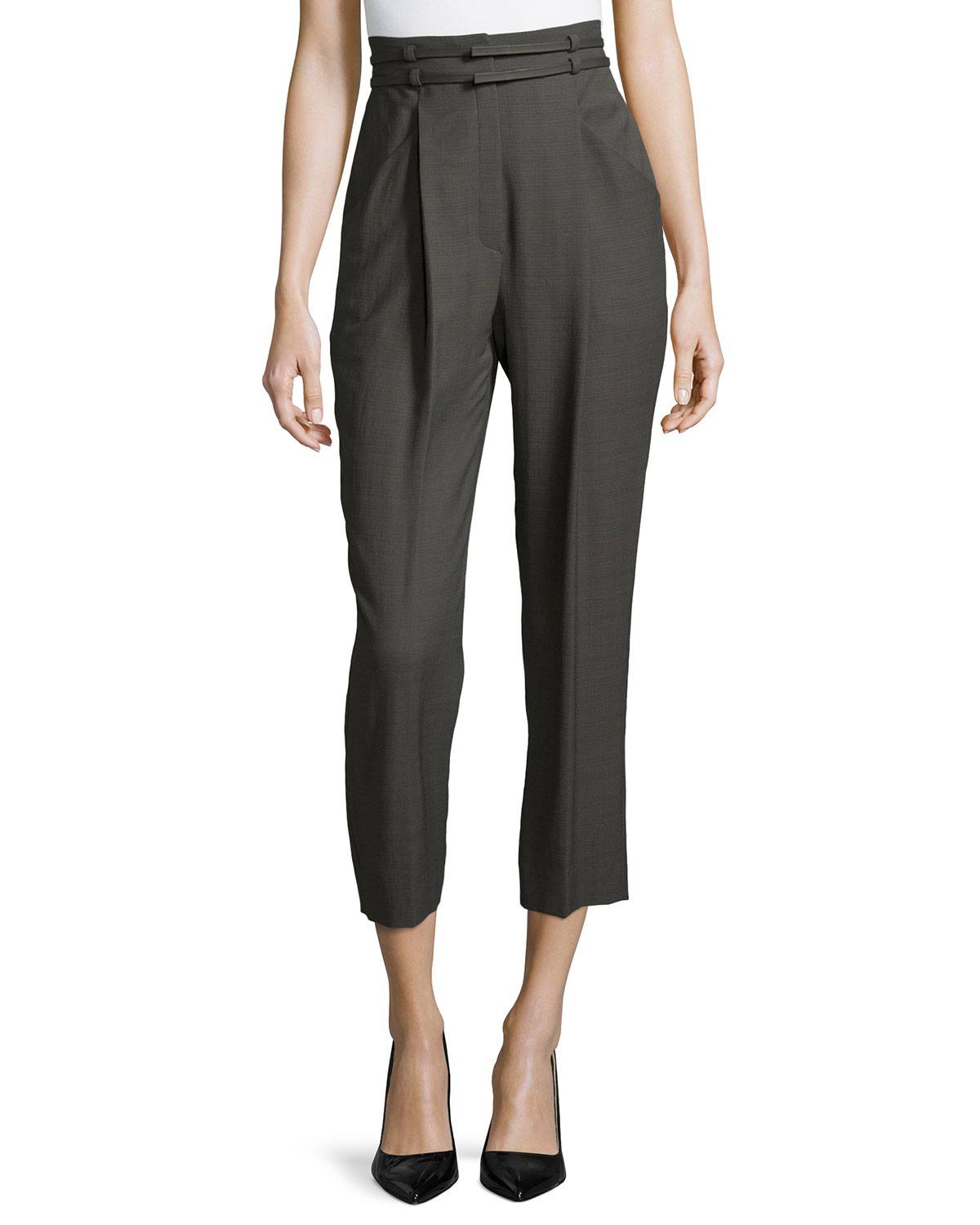 Escada High-waist Pleated-front Cropped Pants in Gray