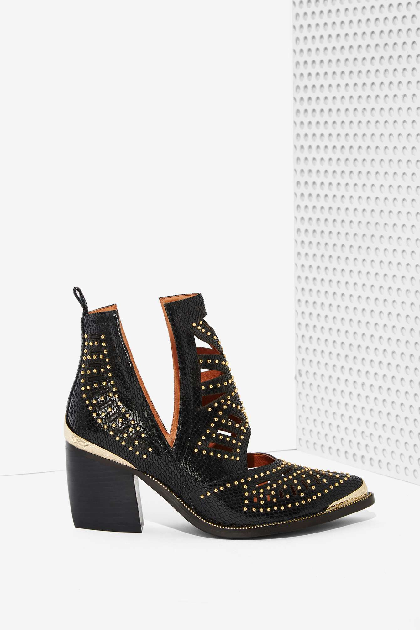 Nasty Gal Maceo Cutout Leather Boot In Black Lyst