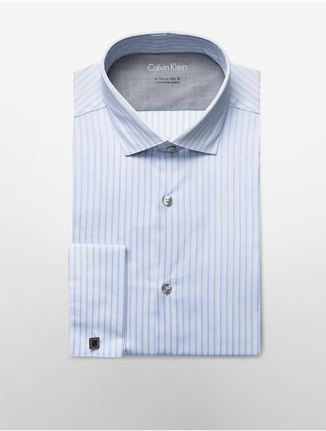 Calvin klein white label x fit ultra slim fit blue woven for Calvin klein x fit dress shirt