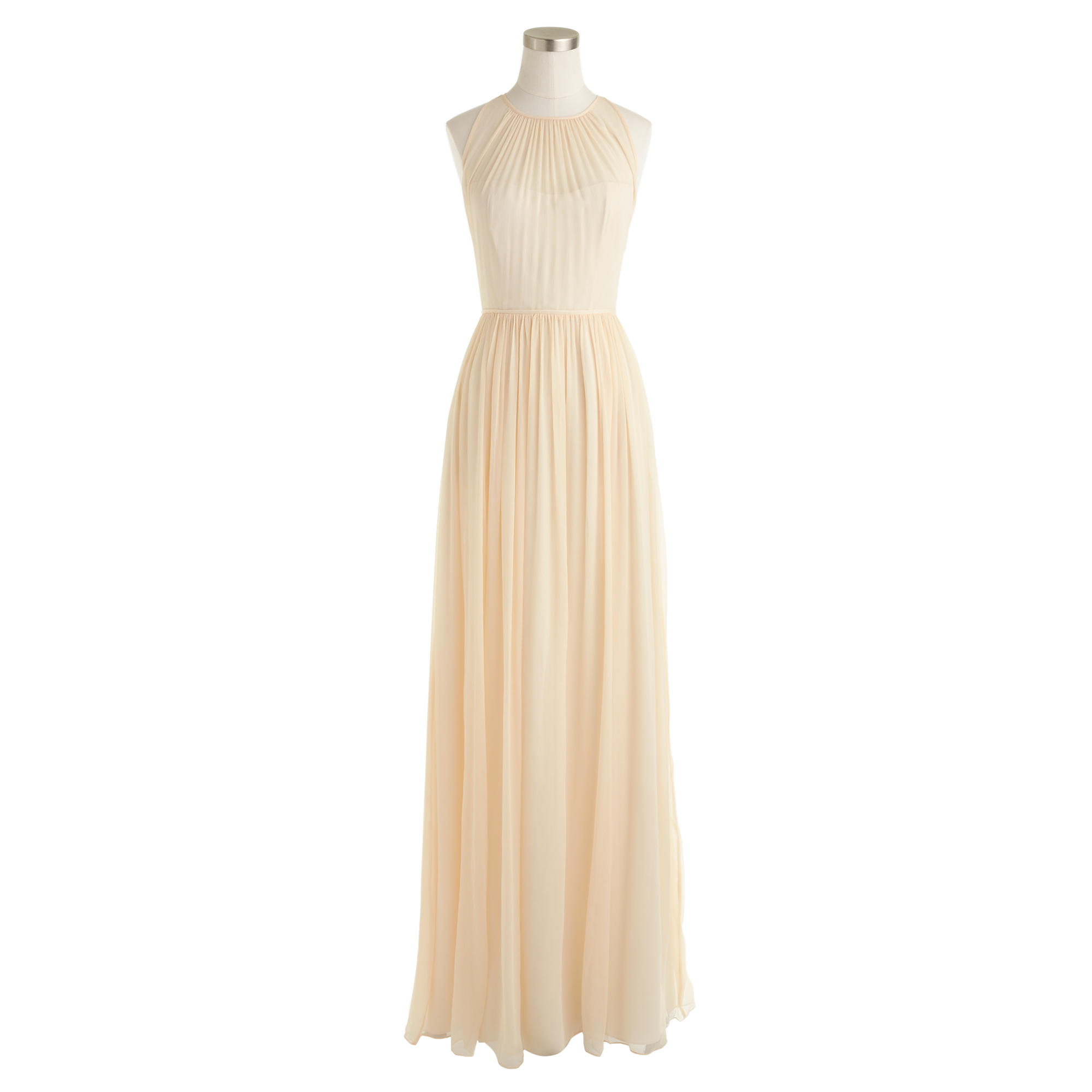 Petite Megan Long Dress In Silk Chiffon In Metallic