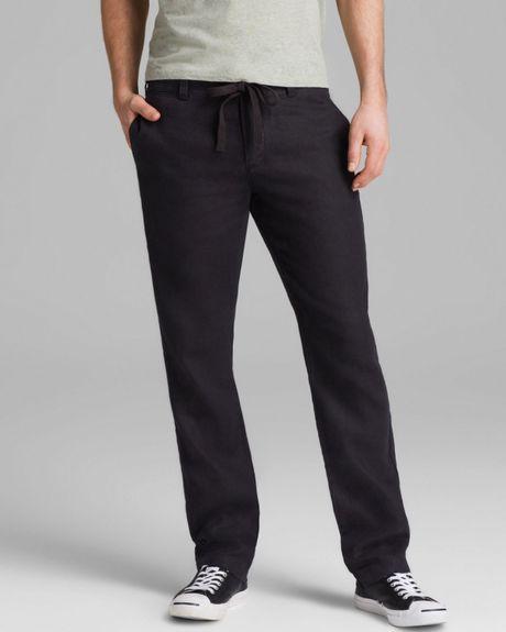 Vince Linen Drawstring Pants In Black For Men Lyst