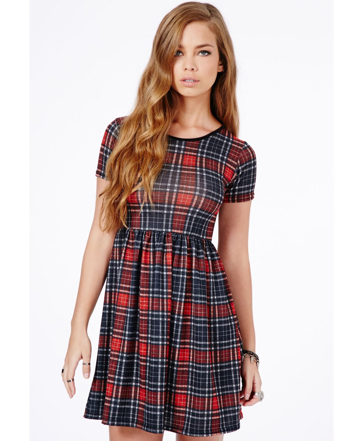 Lyst - Missguided Sevilla Tartan Skater Dress in Red 29a852b24