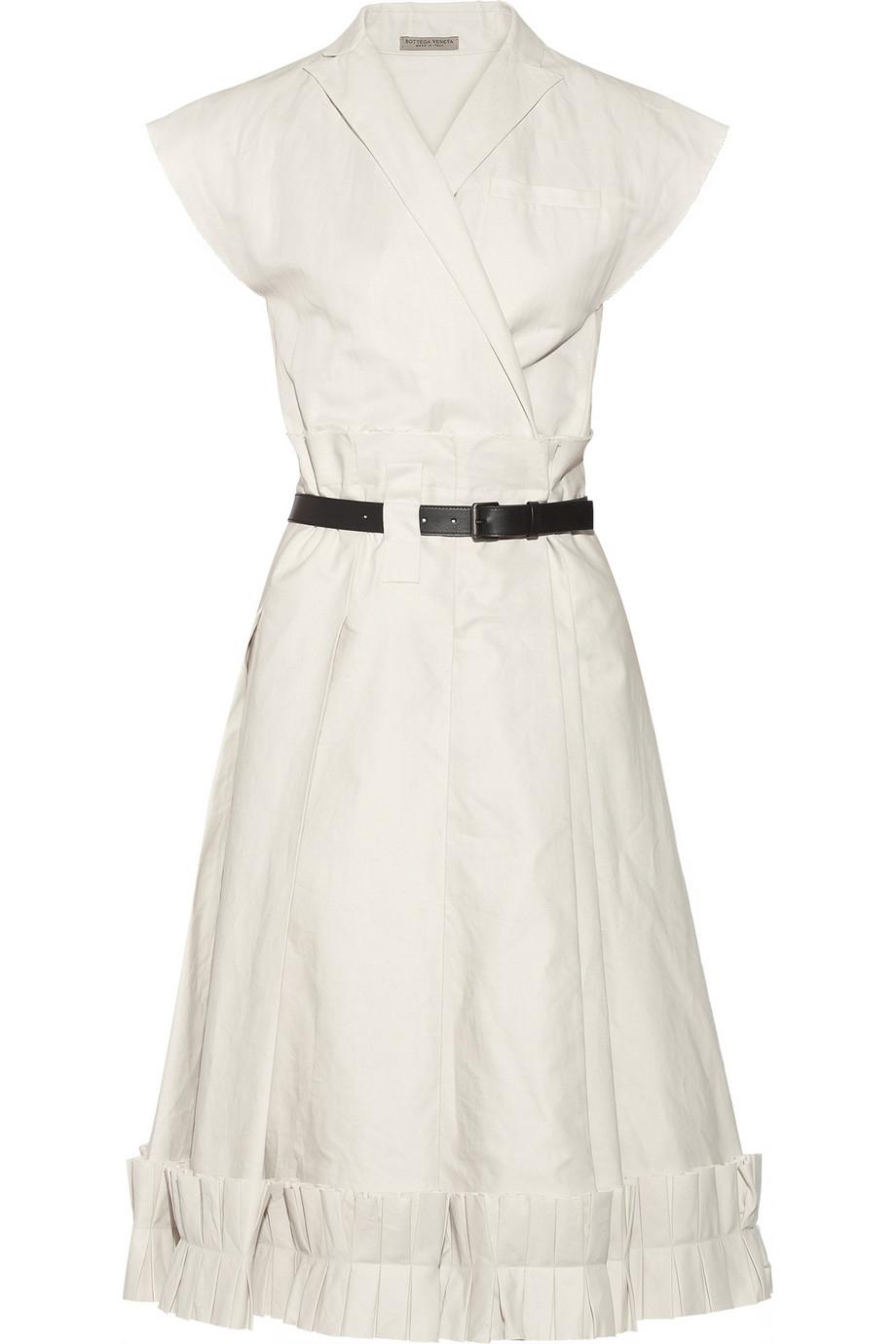 Lyst Bottega Veneta Pleated Cotton Blend Twill Wrap
