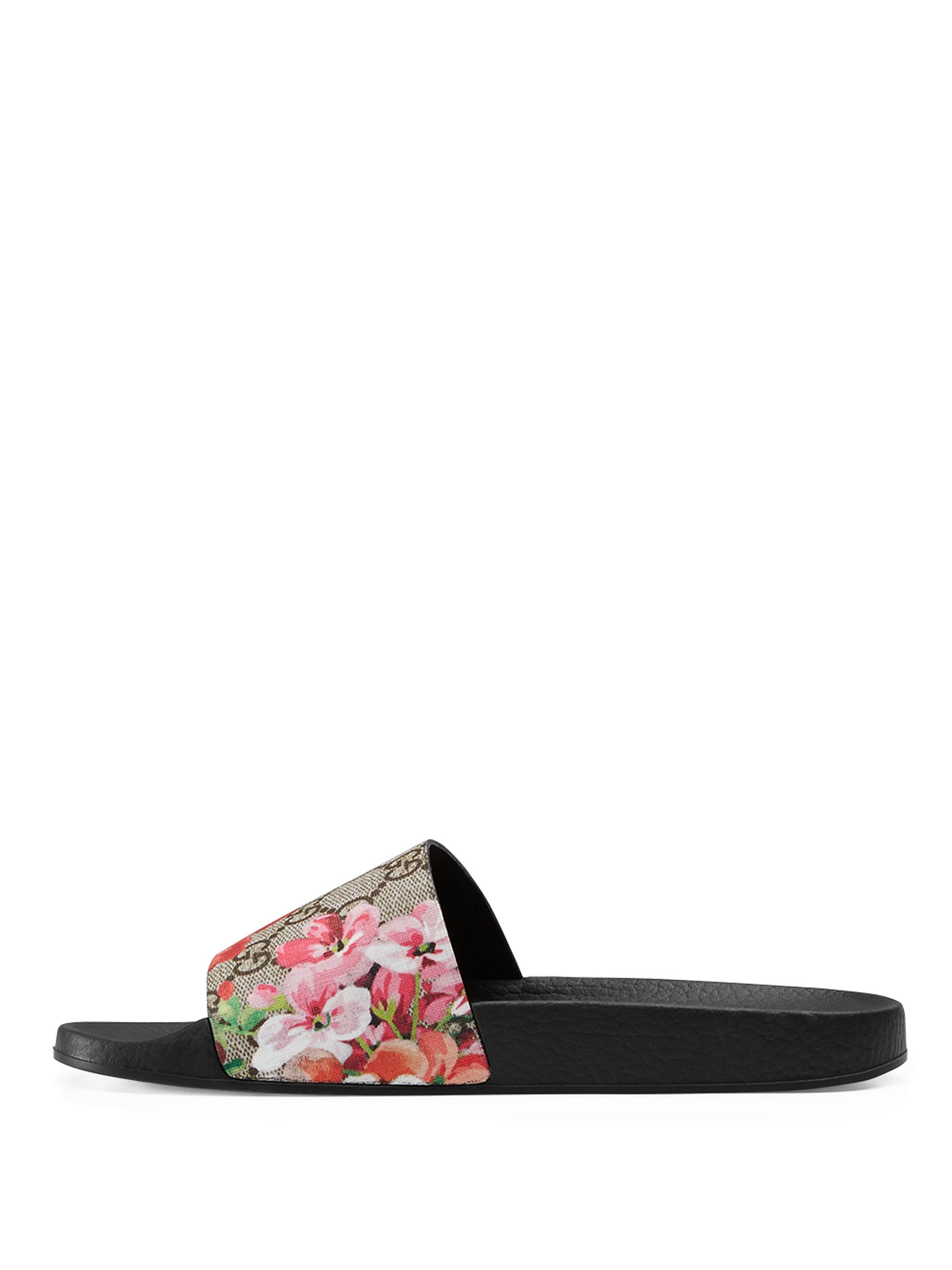 Gucci Pursuit Bloom Canvas Slide Sandals In Multicolor