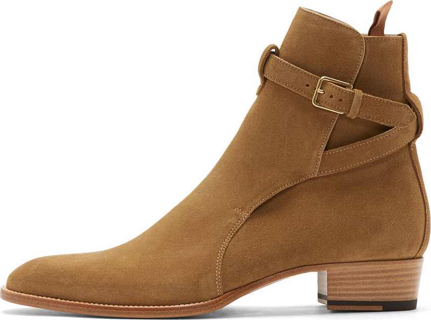 Saint Laurent Camel Suede Wyatt Ankle Boots In Natural For