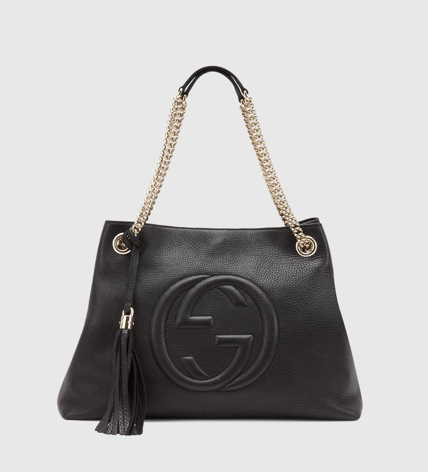 gucci soho leather shoulder bag in black