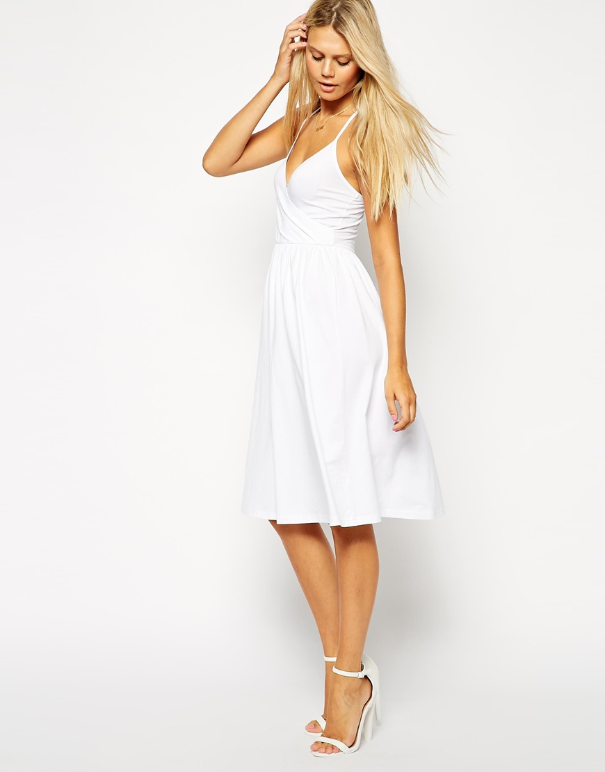 996725639e ASOS Midi Sundress With Strappy Back And Wrap Front in White - Lyst
