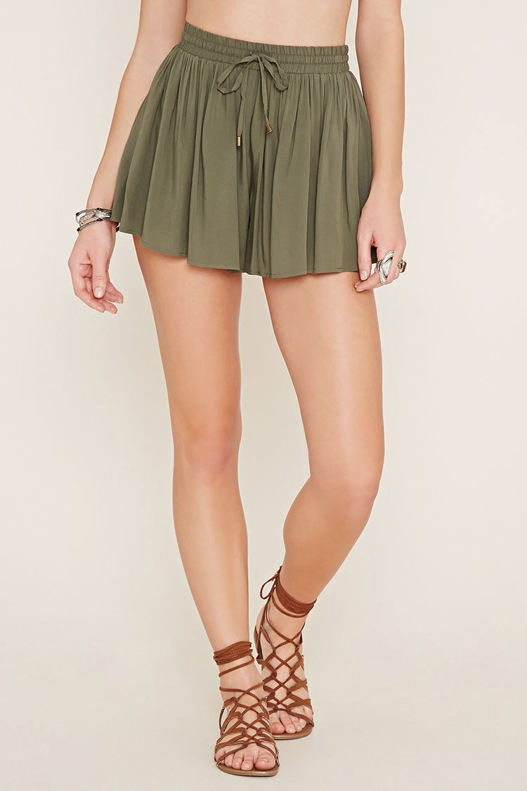 Forever 21 Drawstring High-waisted Shorts in Gray | Lyst