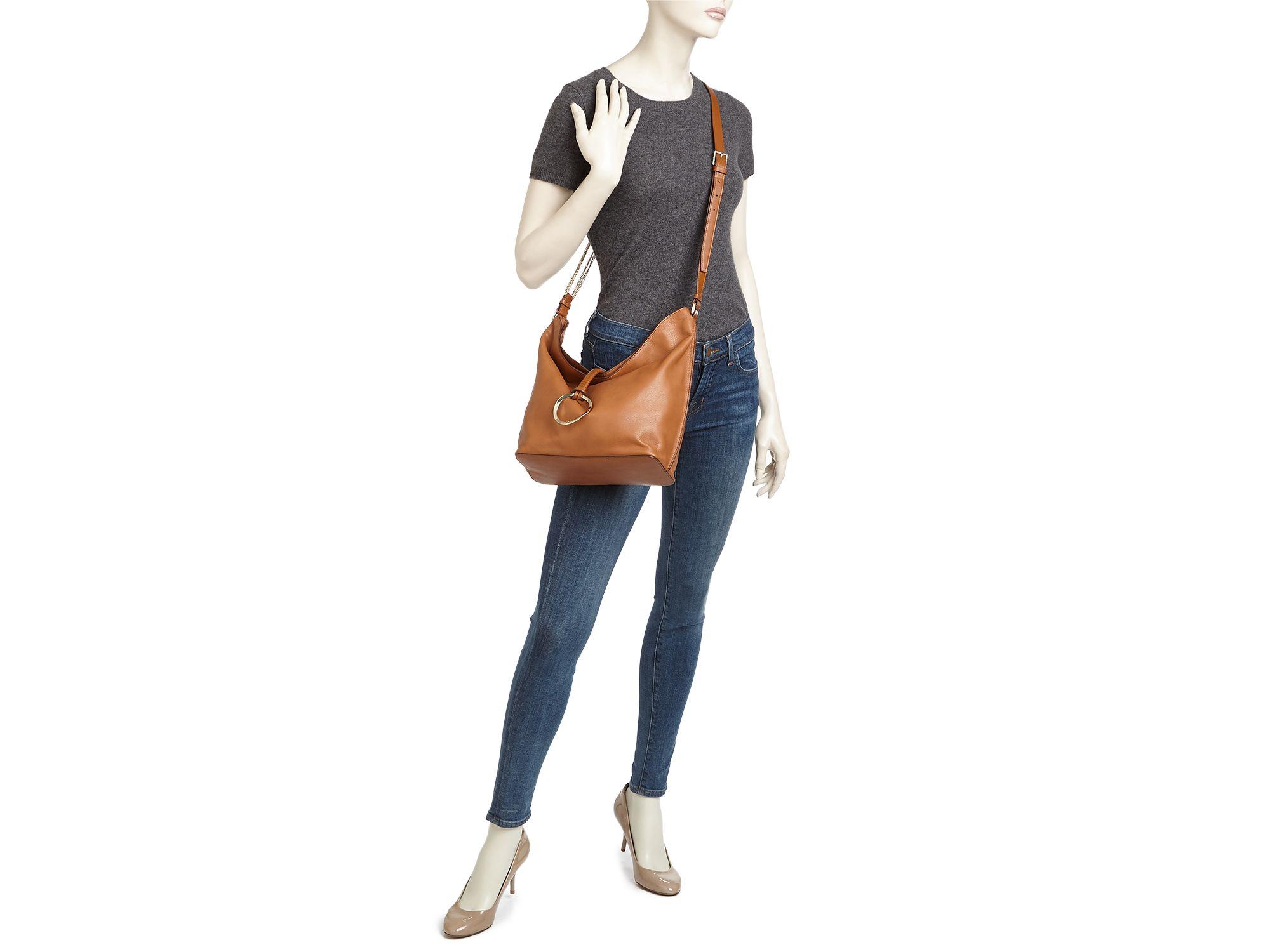 80c498a76a Lyst - Halston Elsa Medium Bucket Bag in Brown