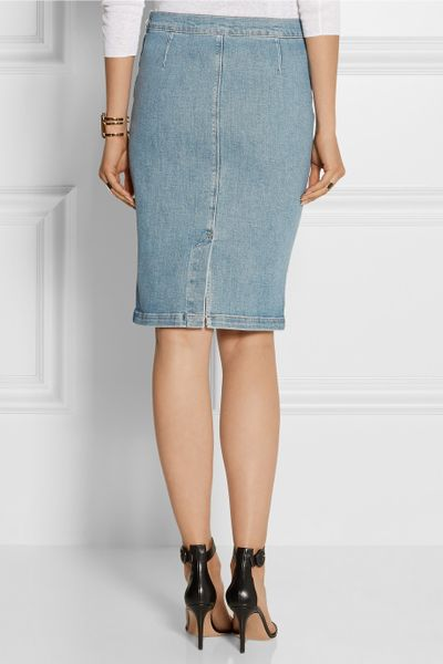 frame denim le high distressed stretch denim pencil skirt
