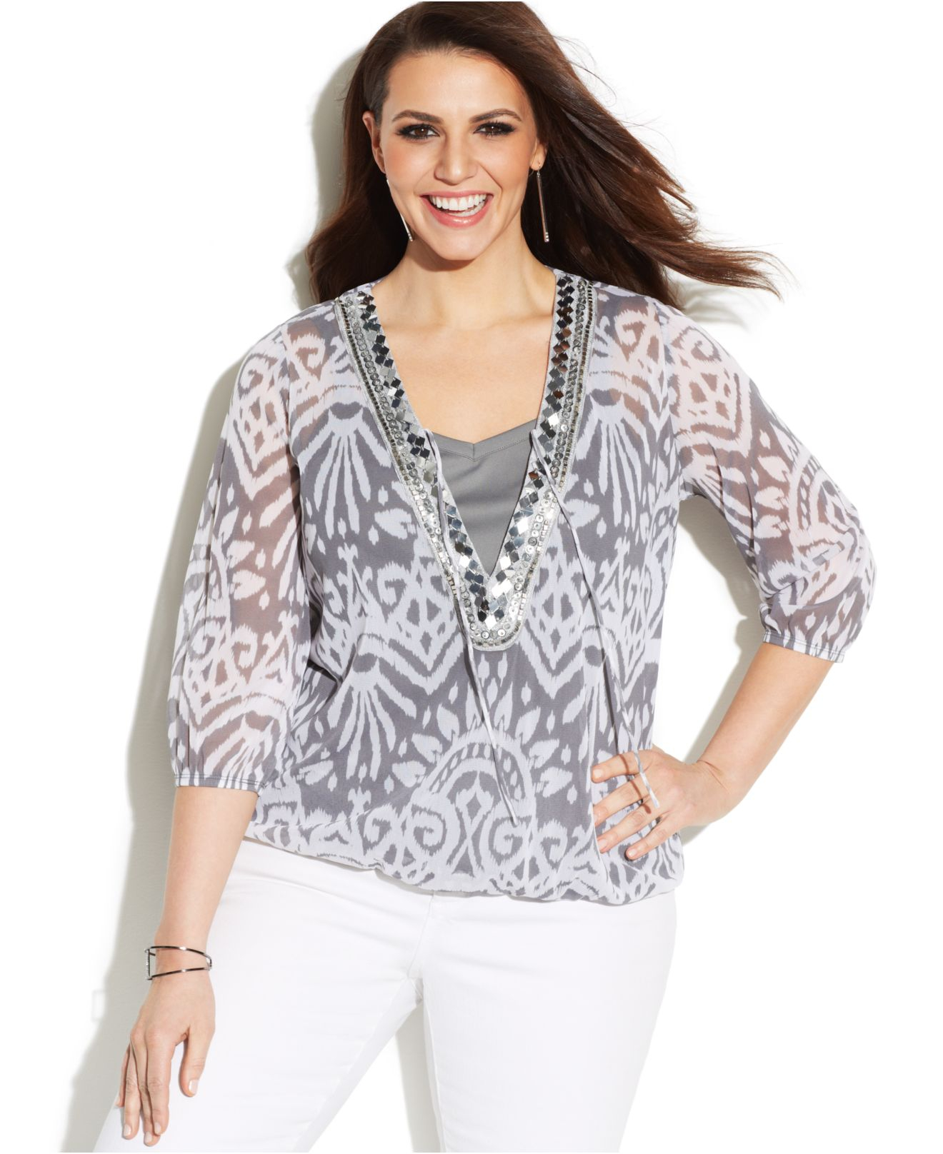 inc international concepts plus size printed beaded