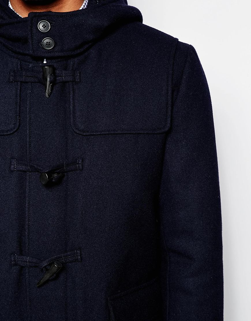 upphöra Avdelning i går  SELECTED Wool Duffle Coat With Check Lining in Navy (Blue) for Men ...