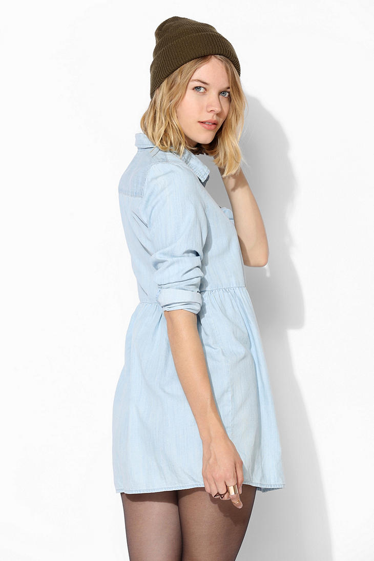 ee37facaaa1 Urban Outfitters Blue Bdg Chambray Babydoll Shirtdress