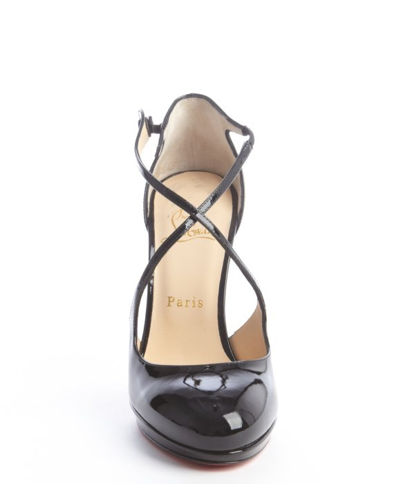Christian louboutin Patent Leather Cross Strap Pumps in Black | Lyst
