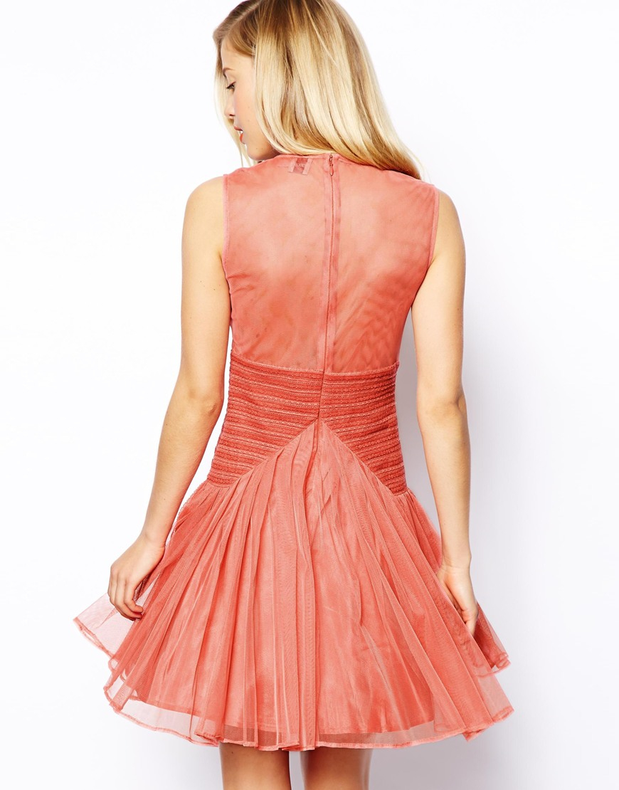 Lyst Asos Salon Skater Dress In Layered Lace In Pink
