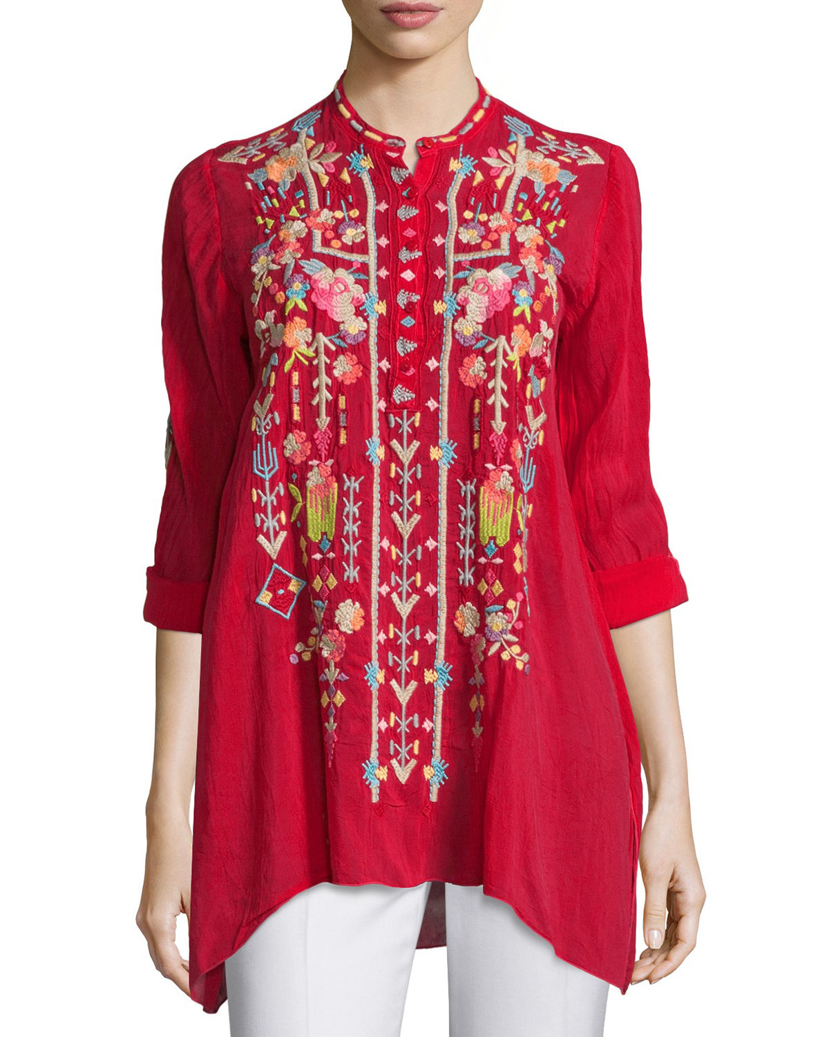 Lyst - Johnny Was Jezabelle Embroidered Tunic Top in Red