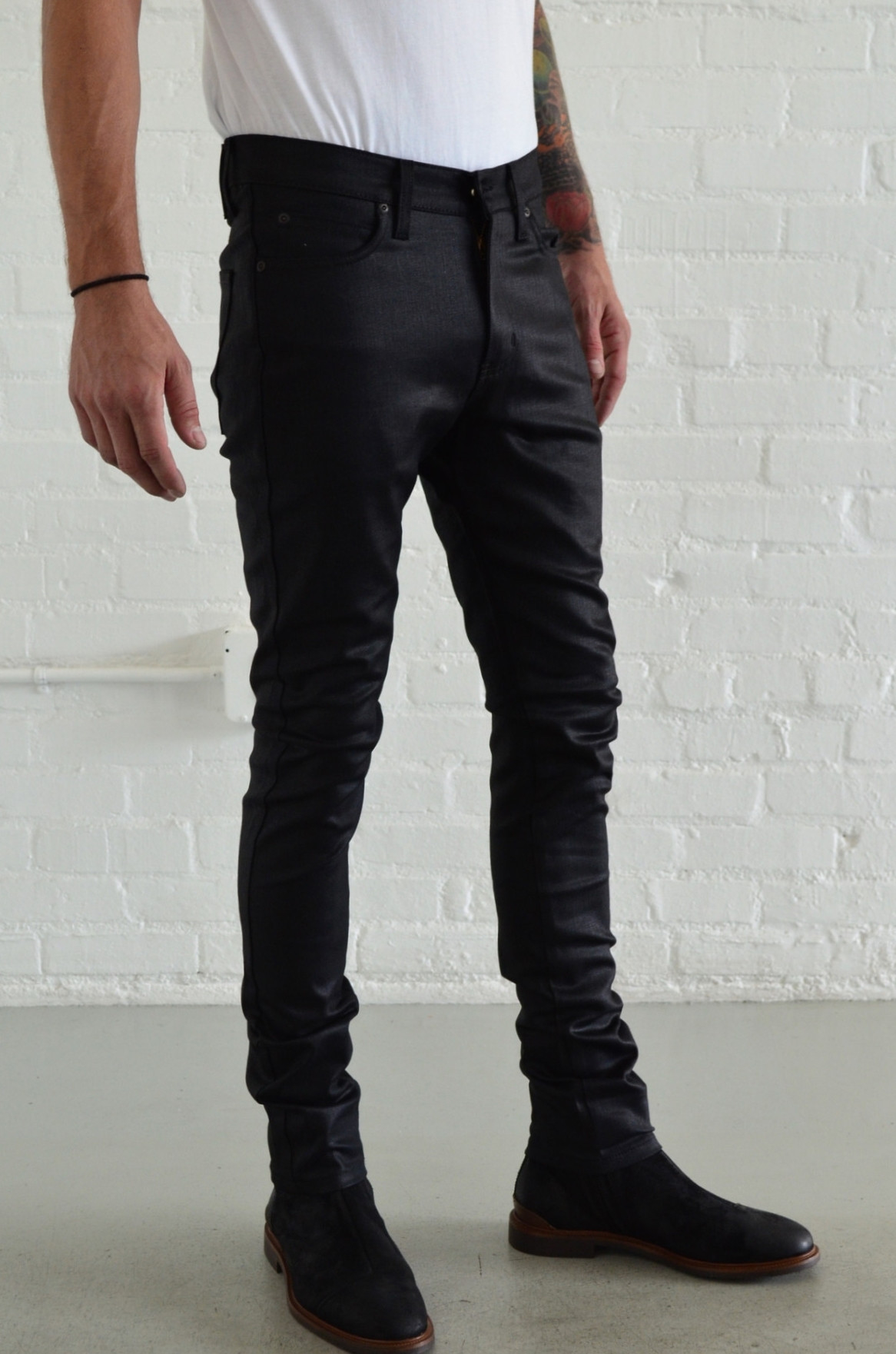 Lyst - Naked  Famous Stacked Guy Wax Coated Black Stretch -6017