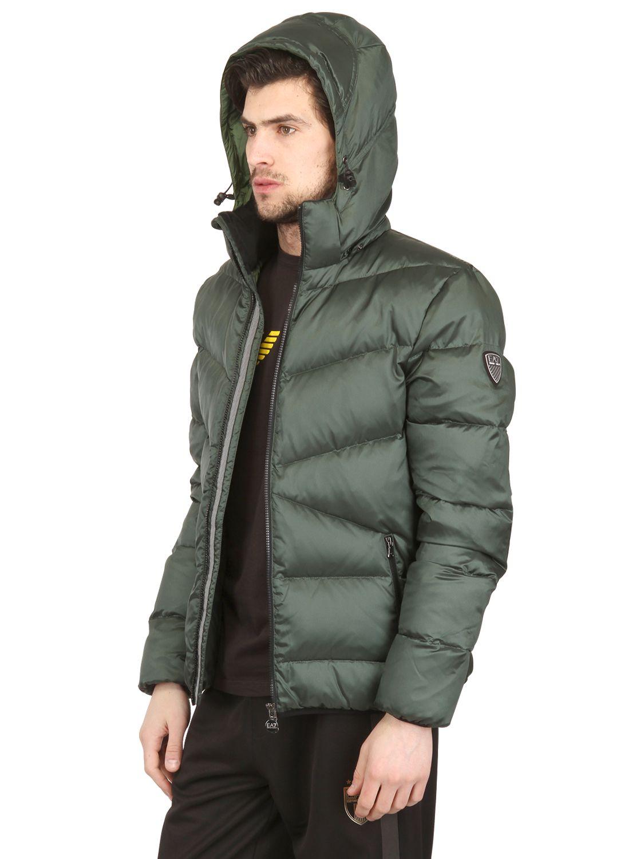 Lyst - Emporio Armani Windproof Nylon Down Jacket in Green ...