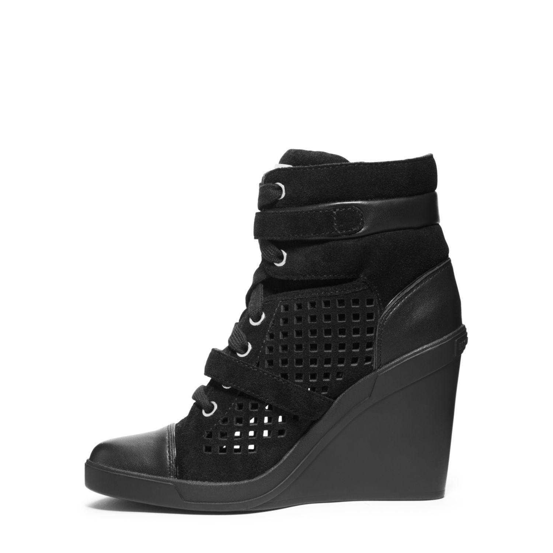michael kors skid laser cut suede wedge sneaker in black. Black Bedroom Furniture Sets. Home Design Ideas