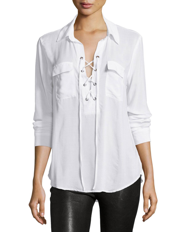 d47f7fd2bf4d52 Velvet heart Long-sleeve Lace-up Sheer Blouse in White
