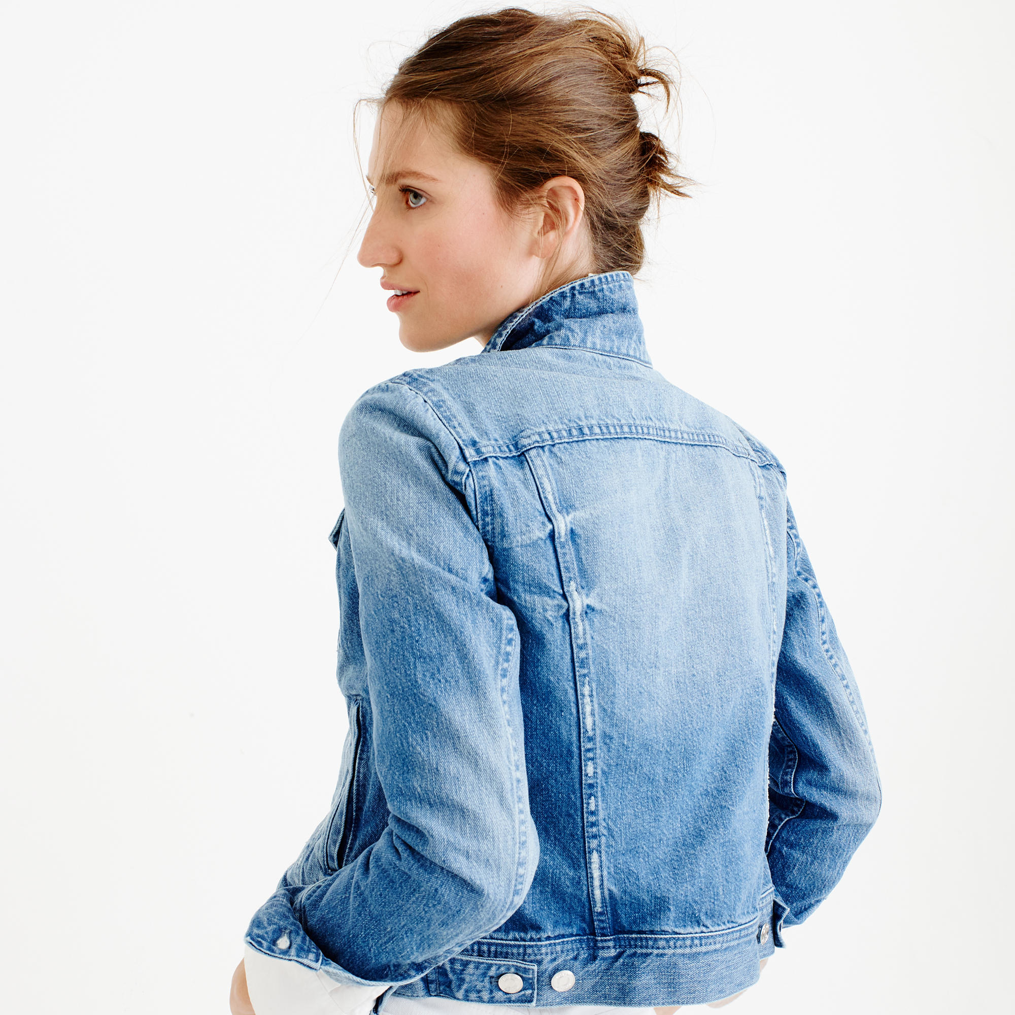 Jcrew Petite Denim Jacket In Holston Wash In Blue - Lyst-8408